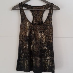 Material Girl gold speckle racerback tee medium